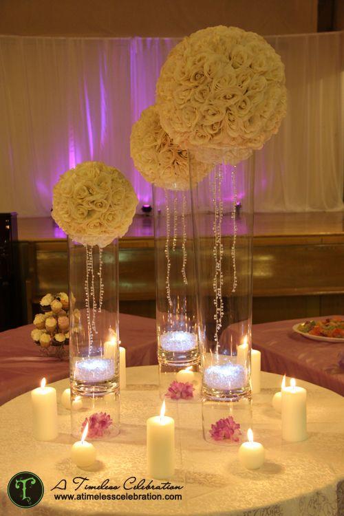12 Inch Wedding silk Pomander Kissing Ball~White roses ~ HUGE in ...