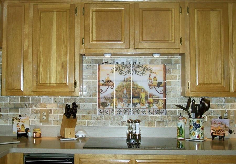 Tile backsplash 24 x 18 on 6x6 marble tile with our for Backsplash tile mural