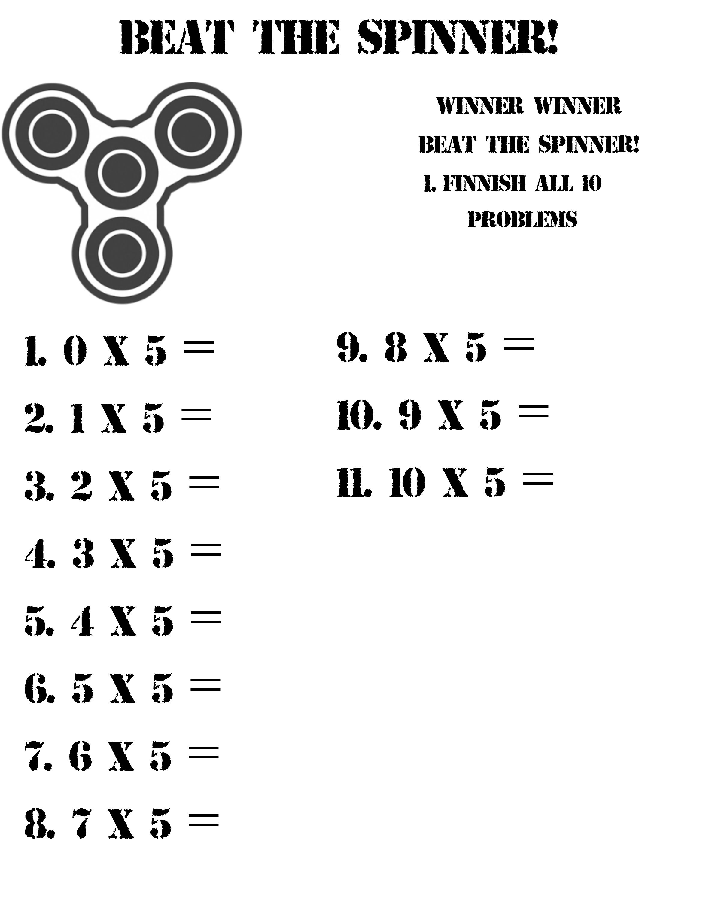 Beat The Spinner And Practice Your Multiplication Facts