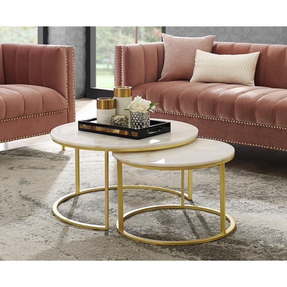 Luxury Nest Of Round Coffee Tables Juliettes Interiors Couchtisch Marmor Couchtisch Holz Marmortisch [ 1000 x 1000 Pixel ]