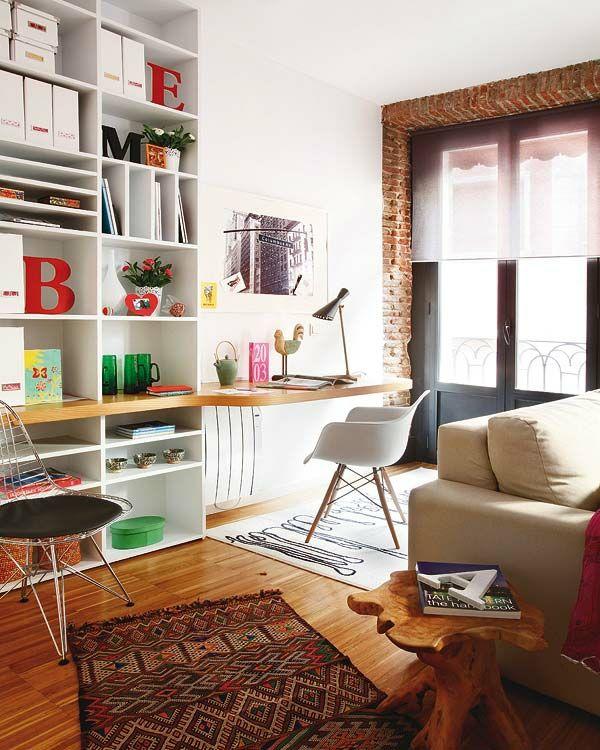 kleine wohnung einrichten bücherregal arbeitstisch | wohnen ... - Designer Arbeitstisch Tolle Idee Platz Sparen