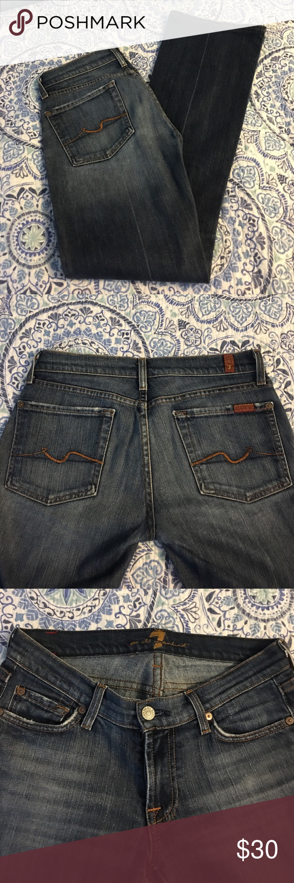"""Seven for all mankind jeans size 27 Great condition. Cute """"wave"""" design on back pockets. Make an offer. These fit amazing and enhance your booty!!!! I have pointed at the little wear at button hole- still fastens perfectly and should not be an issue- just full disclosure. Very soft and figure flattering!!! Seven7 Jeans Boot Cut"""