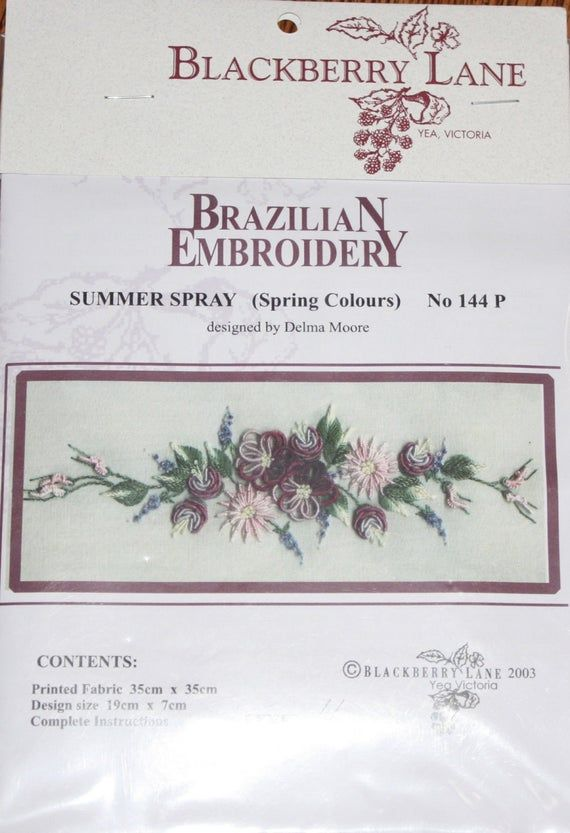 Photo of Blackberry Lane Brazilian Embroidery Design / Equipment – # 144P Summer time Spray (Pink) – full strands by Edmar