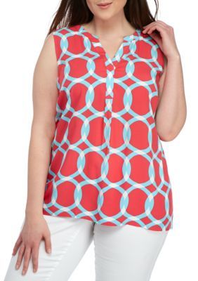 Crown  Ivy  CoralTurquoise Plus Size Sleeveless Peasant Top