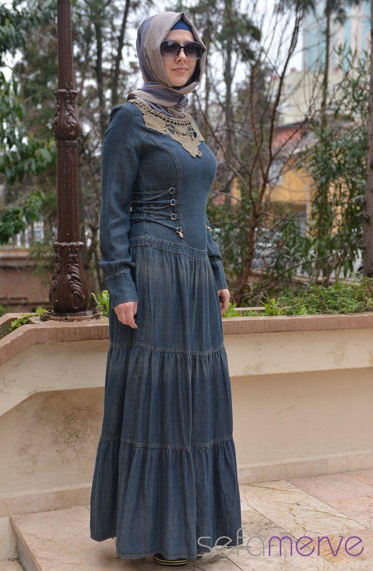 Sefamerve Tesettur Kot Elbise Modelleri Moda Tesettur Giyim Kot Elbiseler Elbise Modelleri Elbise