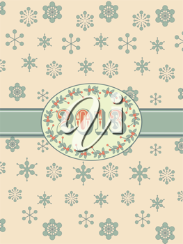iclipart new year clip art background in vintage style with snowflakes border and ribbon