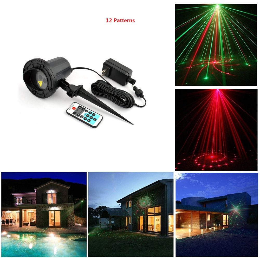 laser christmas lights outdoor remote rg 12 patterns waterproof latest elf laser light projector garden landscape - Elf Laser Christmas Lights