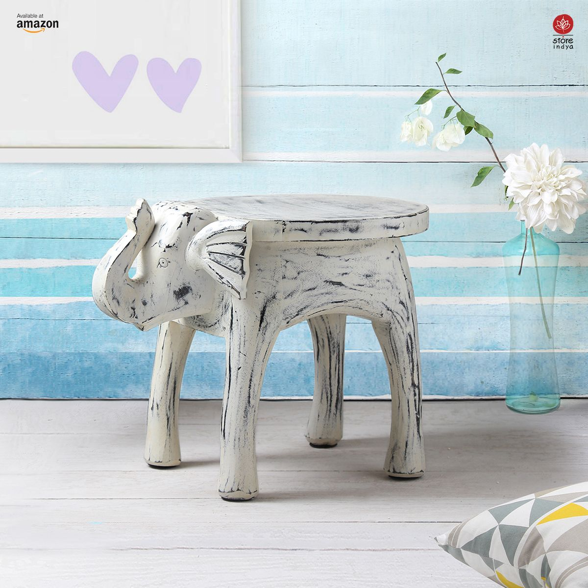 Amazon.com | Store Indya | Wooden Side Table End Table Round Bedside ...