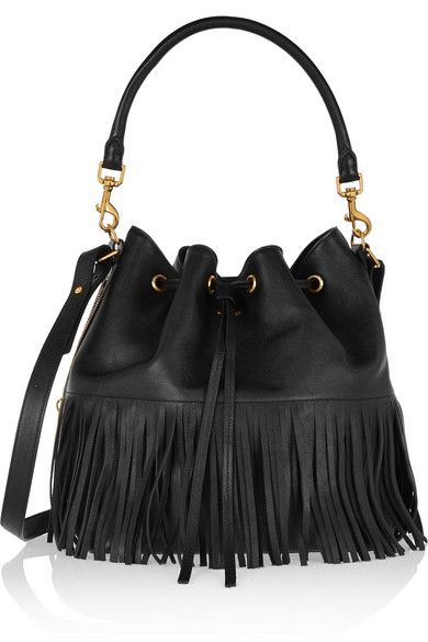 548c877d863 SAINT LAURENT Bucket Purse, Bucket Bags, Black Leather Bags, Leather Fringe,  Ysl