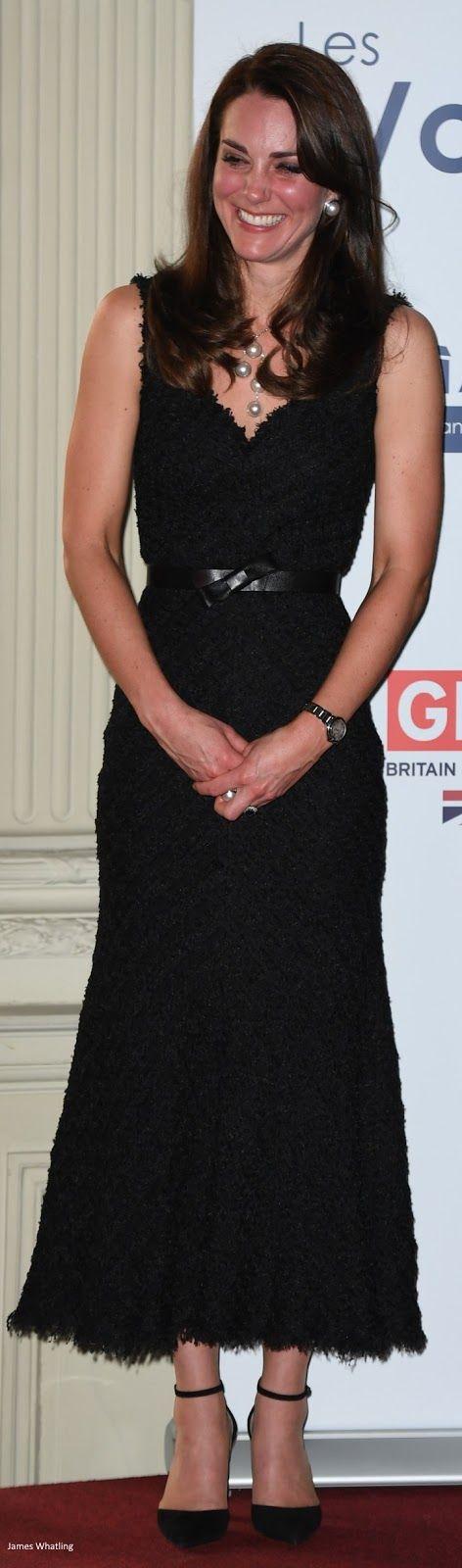 a0f27a9a1a3 Duchess Kate  Kate s Paris Chic in McQueen Black Dress   Pearls ...