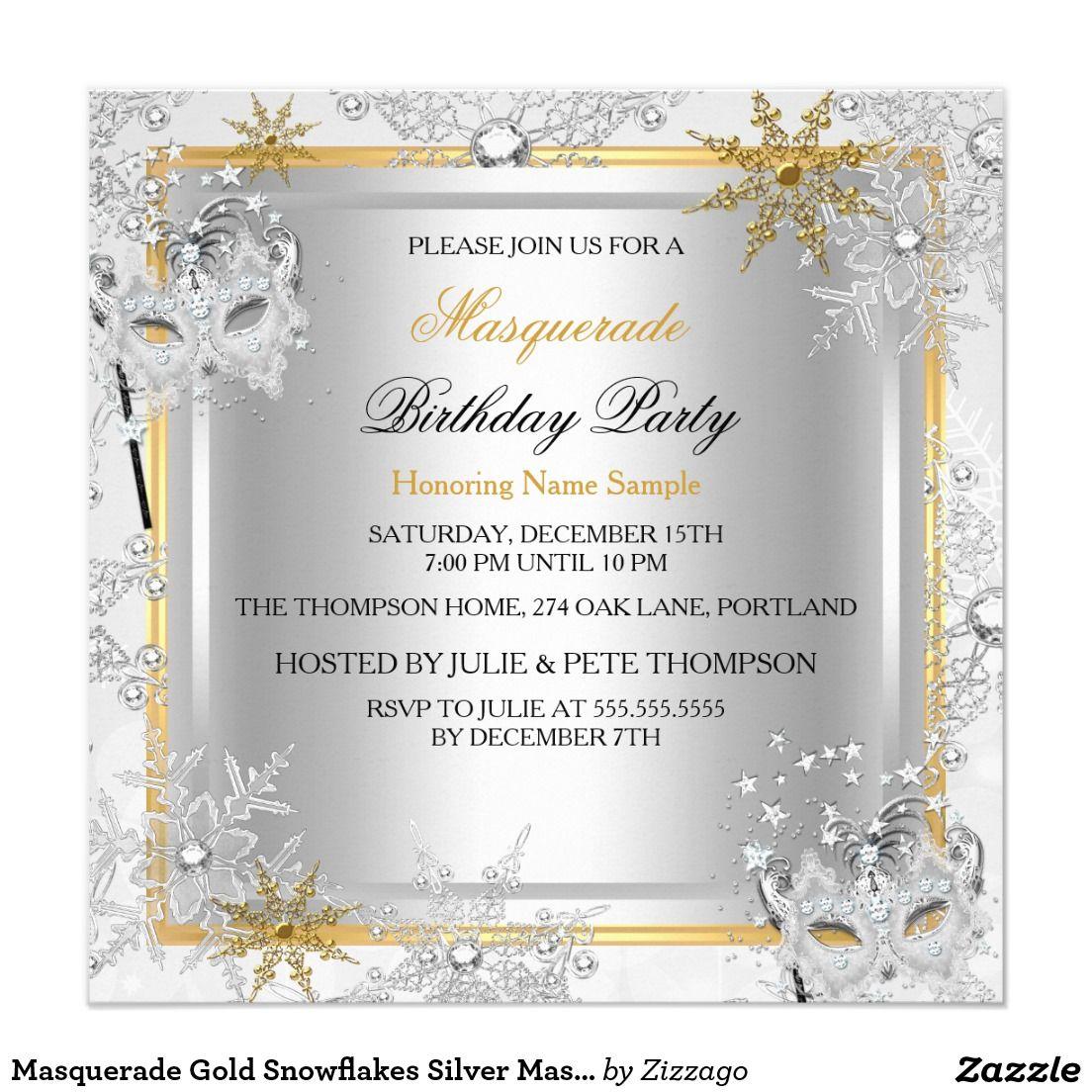 Masquerade Gold Snowflakes Silver Masks Party 2 5.25x5.25 Square ...