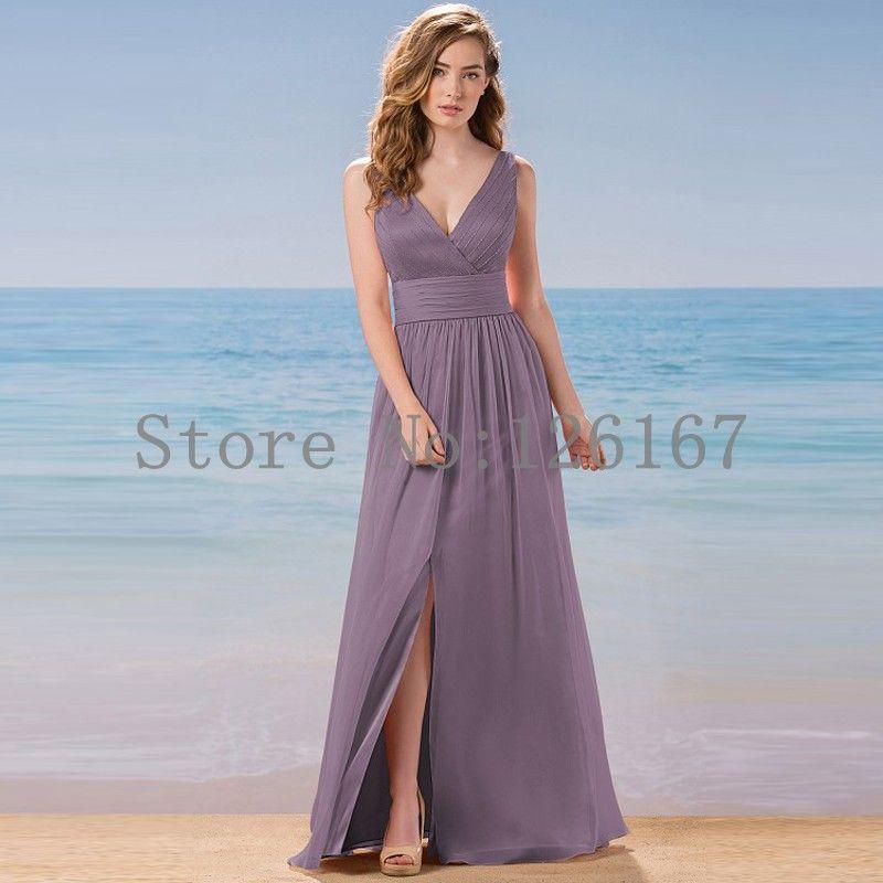 Aliexpress.com : Buy Deep V neck Sexy Chiffon Bridesmaid Dresses ...