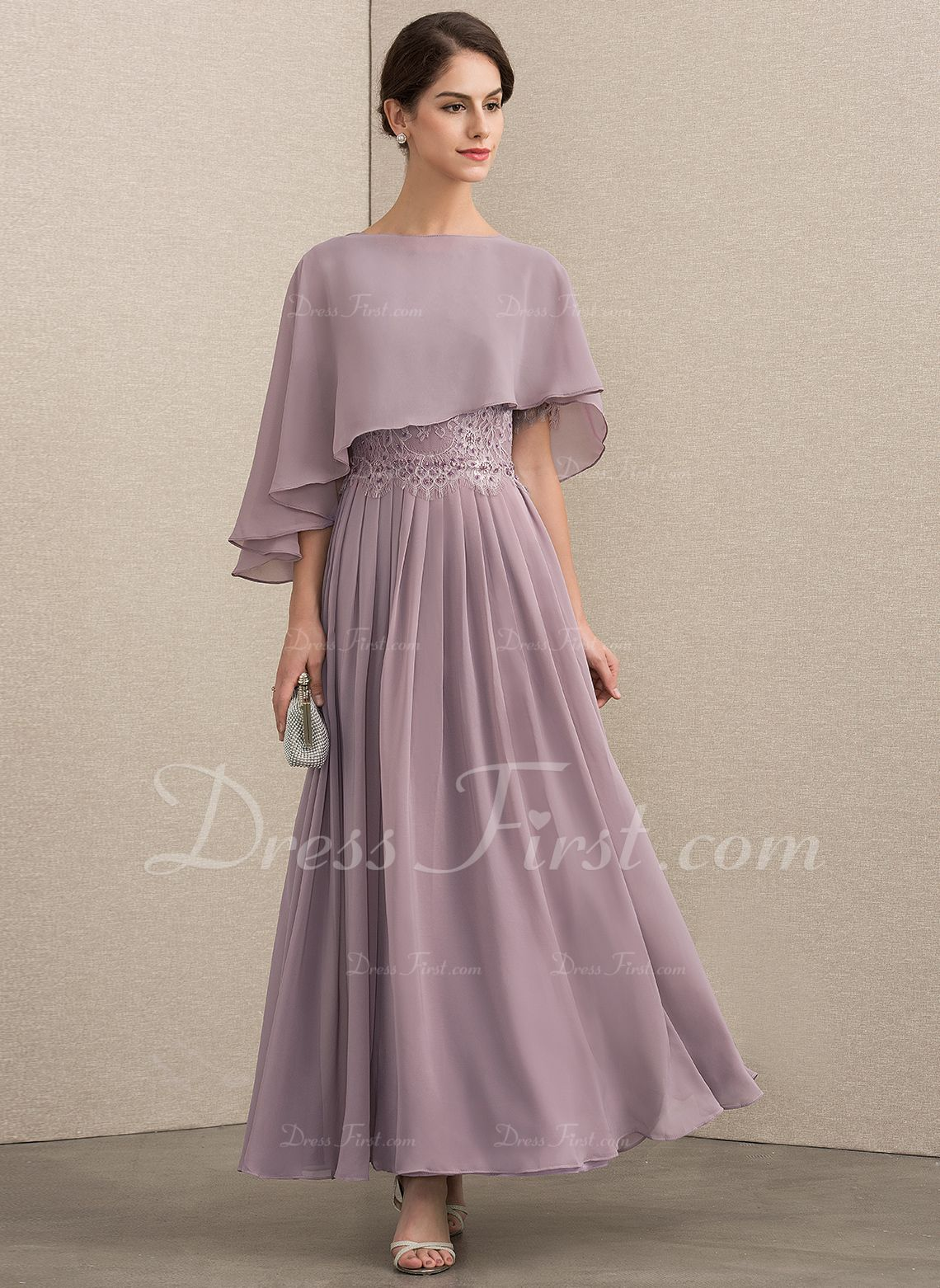 A Line Scoop Neck Ankle Length Chiffon Lace Mother Of The Bride Dress With Beading Sequins 008152152 M Chiffon Lace Bride Dress Mother Of The Bride Dresses