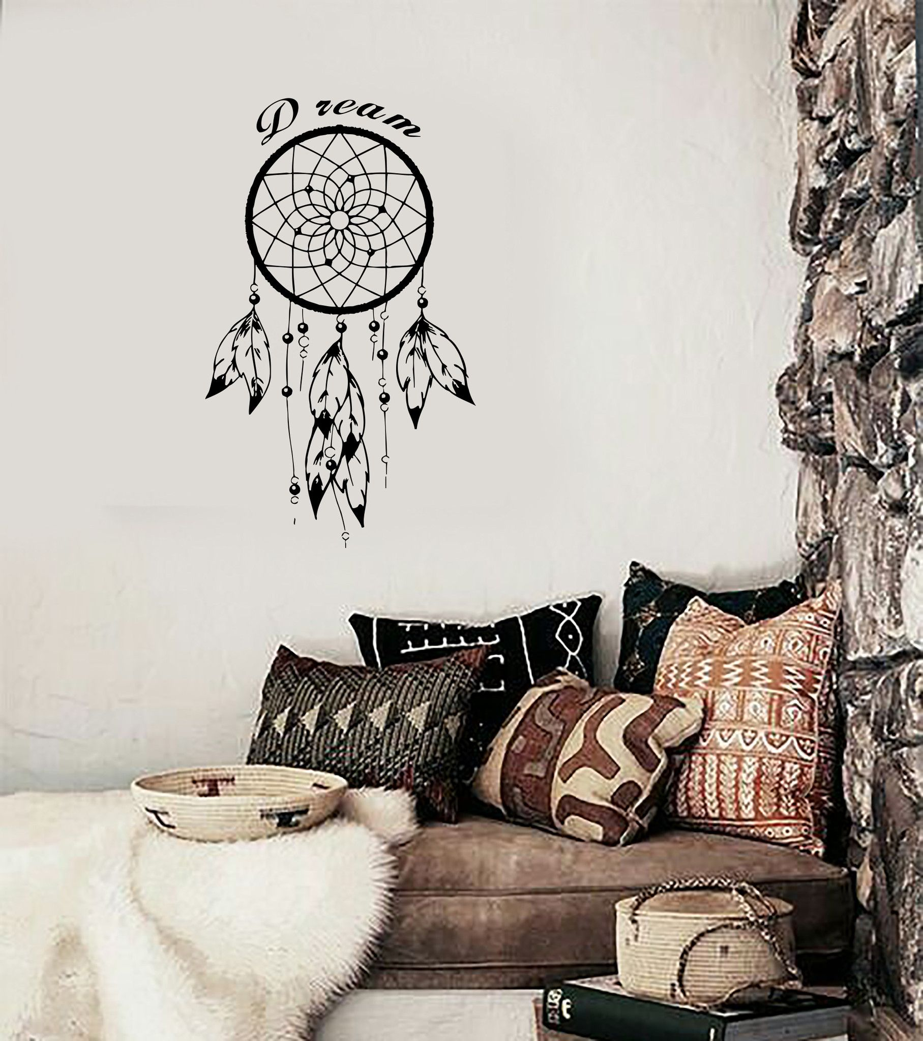 Wall Decal Dreamcatcher Dream Catcher Native American Quote Dream (Z2782)