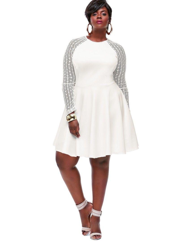 Plus Size White Party Dress Cheap