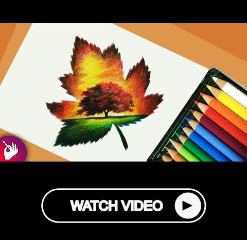 Scenery Drawing With Pencil Colour Landscape Scenery Drawing Scenery Colorful Landscape Pencil Drawings