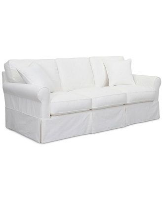 Leanne Fabric Slipcover Sofa Couches Sofas Furniture Macy S Slipcovered Sofa Living Room Furniture Collections Slipcovered Sofa Living Room