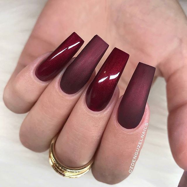 Burgundy long square matte and shiny nail design! Beautiful nails by ...