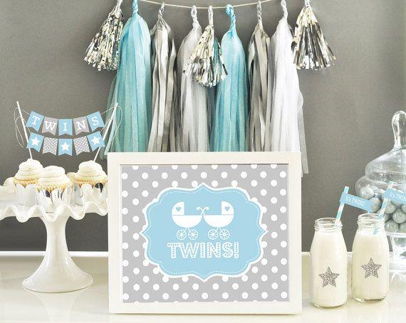 Twin Boy Shower Baby Shower Twin Boys Baby Shower Decorations Sig