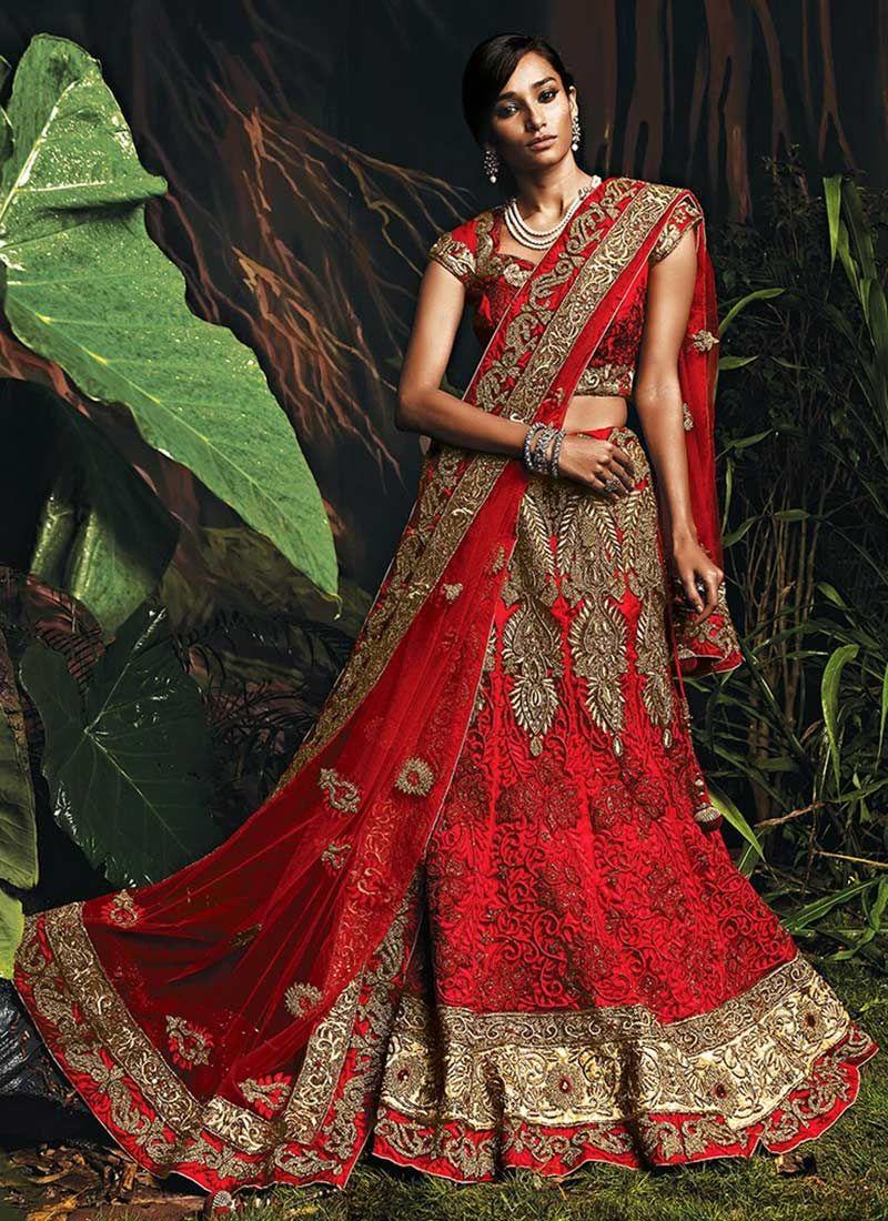 Lehenga saree for wedding bride elegant red net a line lehenga choli  tradition  pinterest