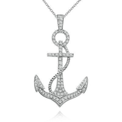 Diamonvita couture 12 ct tw simulated diamond anchor pendant in simulated diamond anchor pendant in sterling aloadofball Gallery