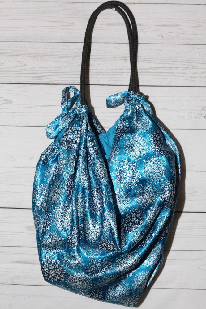 Old Navy Blue Satin Floral Print Large Hobo Bag Purse Vegan Tote One Size   OldNavy  ShoulderBagTote 3c428ab197156
