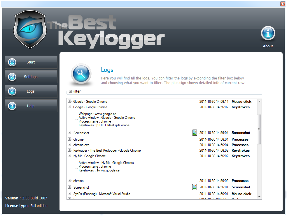 The best keylogger 3.54 build 1000 serial key Good