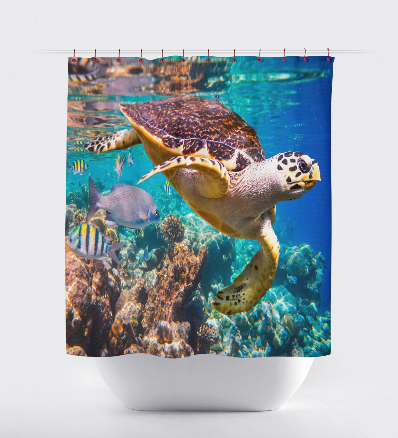 Sea Turtle Curtains,Bed And Bath, Shower Curtains, Bathroom Curtain,Turtles,
