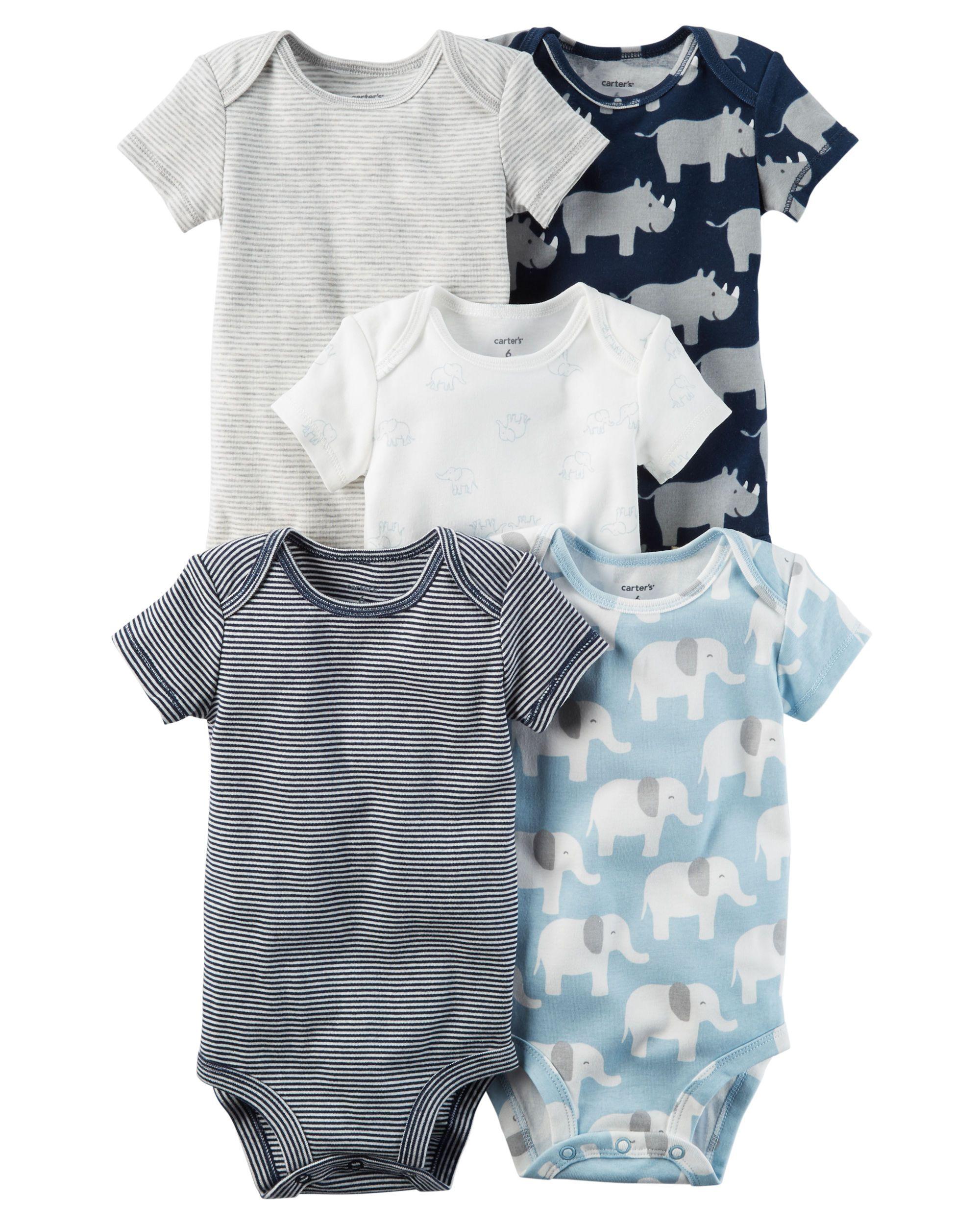 223d5cc90 Image result for Baby Boy Carter's 5-pk. Short Sleeve Elephant & Rhino  Bodysuits