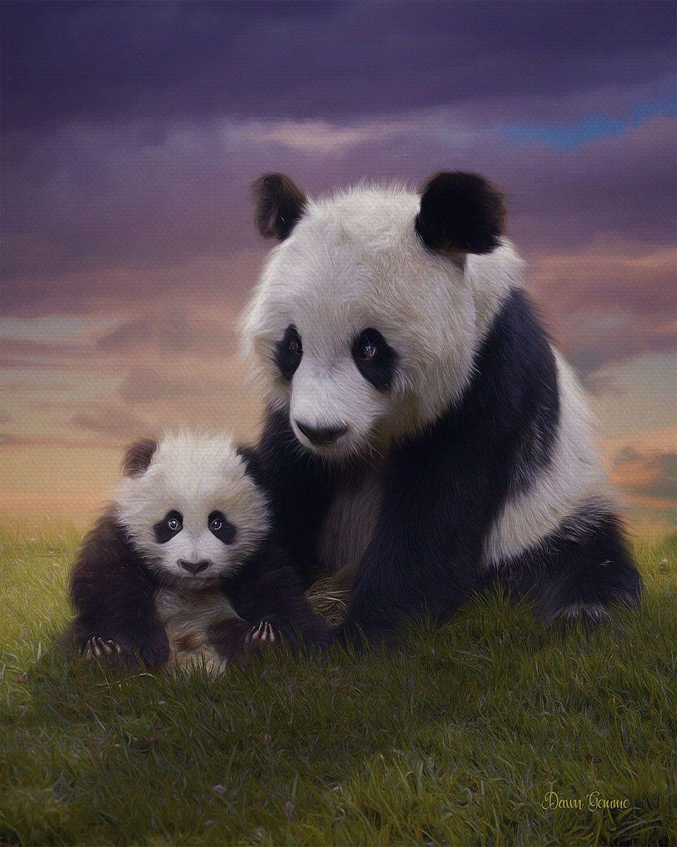 Panda Bears Clyde and Bella Wildlife Digital Oil Painting #babypandabears