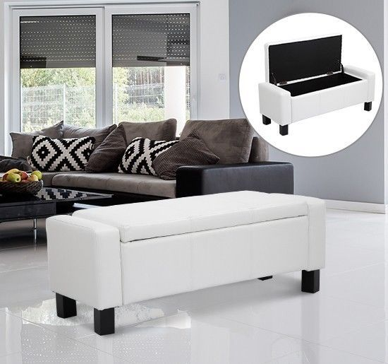 Pleasing White Storage Ottoman Bench Faux Leather Wooden Frame Living Andrewgaddart Wooden Chair Designs For Living Room Andrewgaddartcom