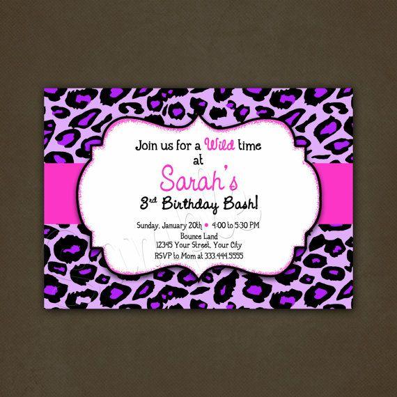 Purple Leopard Animal Print Birthday Invitation Printable ...