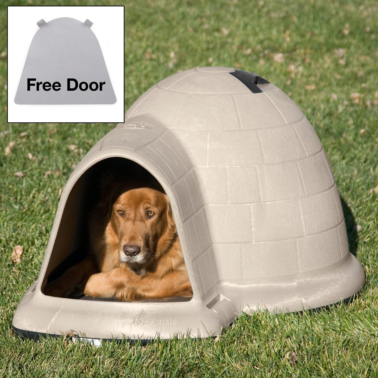 Petmate Indigo Dog House With Free Dog Door Tan Igloo Dog House