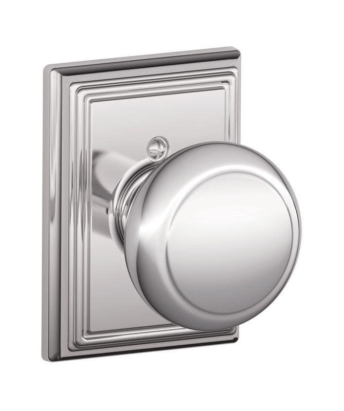 Schlage F170-AND-ADD Single Dummy Andover Door Knob with the Decorative Addison Polished Chrome Knobset Single Dummy