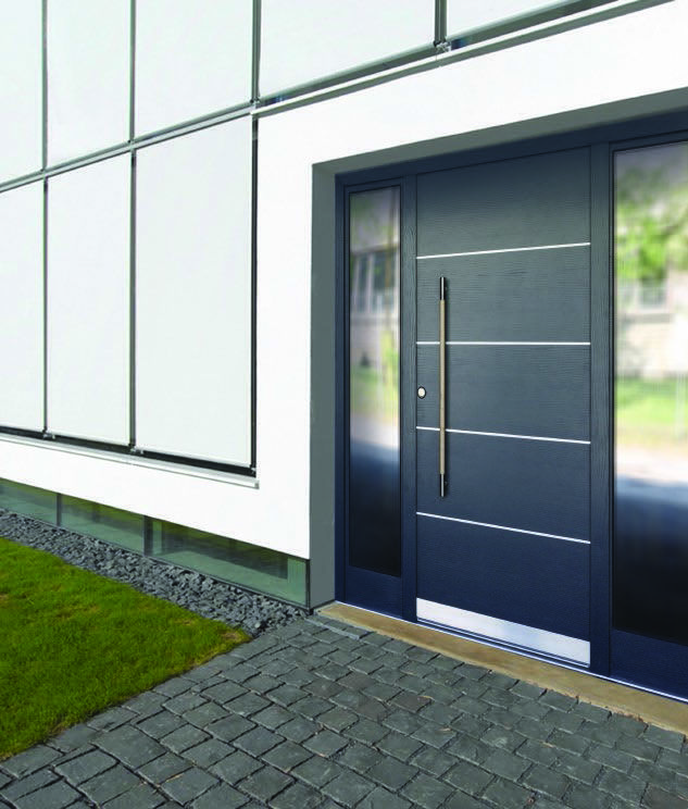 High Security Commercial Door With Glass Panels Either Side