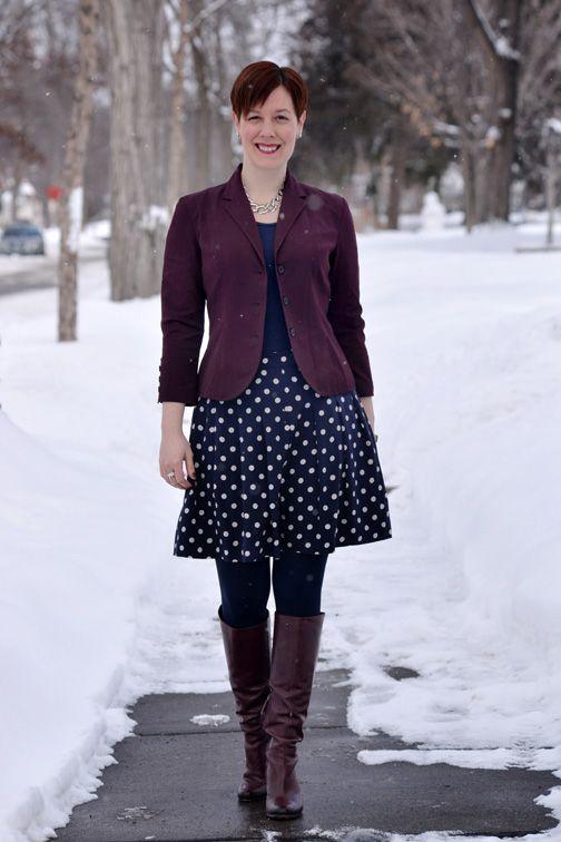 Already Pretty outfit featuring burgundy blazer, navy tank, navy polka dot skirt, burgundy boots, Sam Edelman Seraphina boots