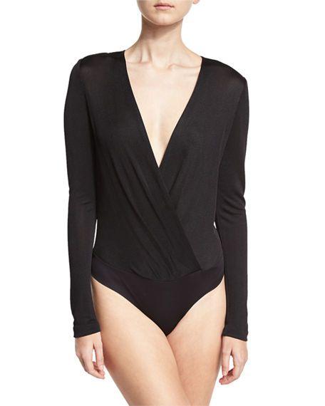 DIANE VON FURSTENBERG Lala Satin Long-Sleeve Surplice Bodysuit, Black. #dianevonfurstenberg #cloth #