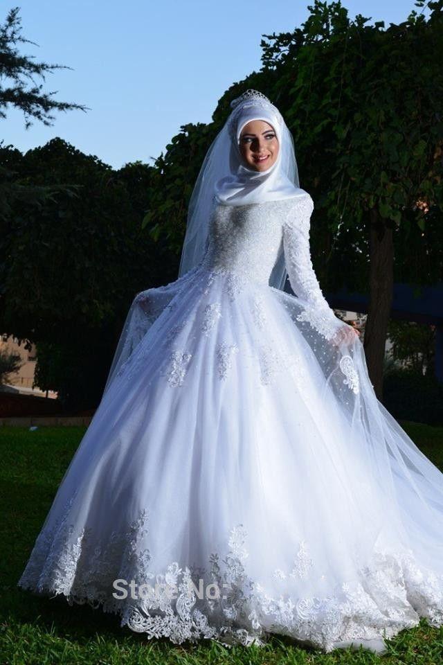 40b2390cbd Vintage Ball Gown Lace Hijab Wedding Dress Islamic Long Sleeve Muslim  Wedding Dress