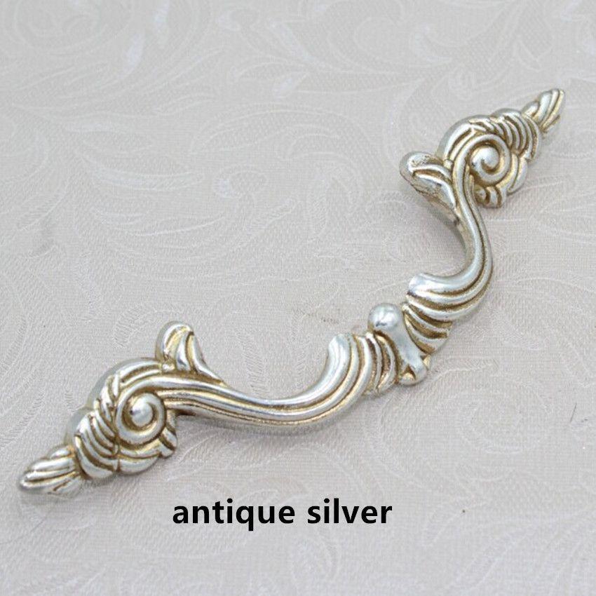 96mm Bronze Kitchen Cabinet handles Antique Silver Drawer Pulls ...