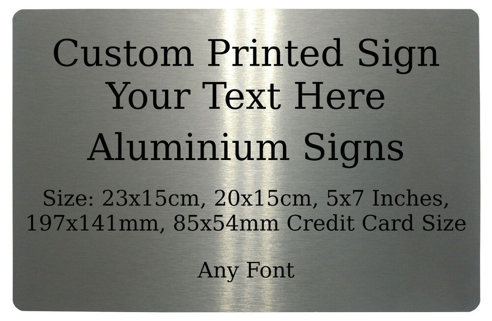 Personalised Logo Text M Silver Metal Aluminium Sign House Office Plaque 23x15cm