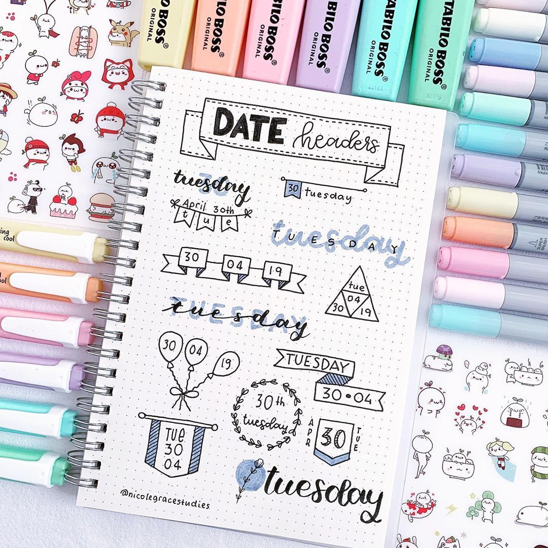 "Nicole Grace on Instagram: ""Date header ideas/inspiration for your bullet journal and study notes!"