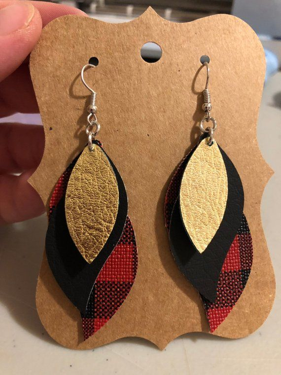 Dangle Drop Earrings Faux Leather Buffalo Plaid Black Gold Layered Stacked Fall Christmas