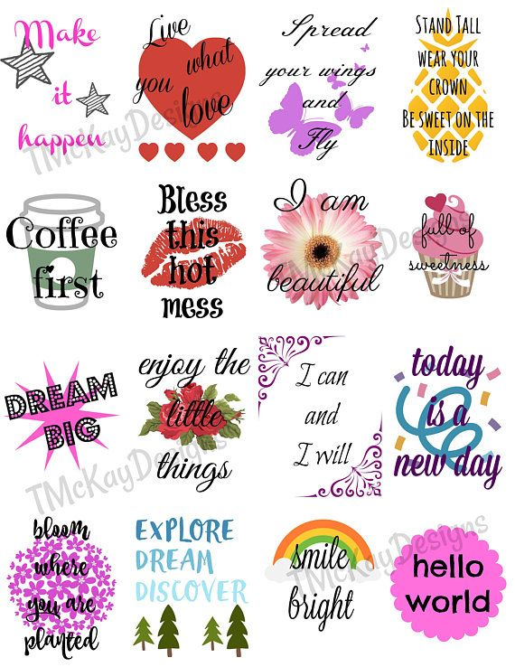 Inspirational quote stickers planner stickers printable stickers quote stickers instant download stickers print your own stickers planner stickers