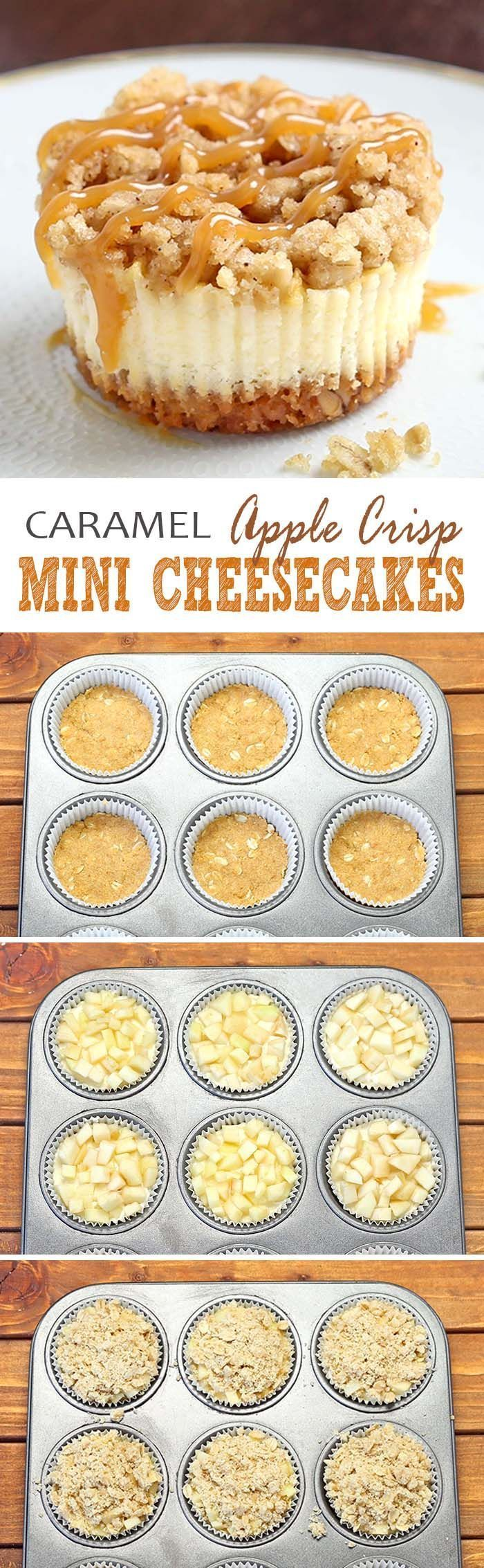 Caramel Apple Crisp Mini Cheesecakes All of the sweet and caramely goodness of a traditional apple crisp, baked on graham cracker crust cheesecake packed into perfect portable fall dessert – Caramel Apple Crisp Mini Cheesecakes.