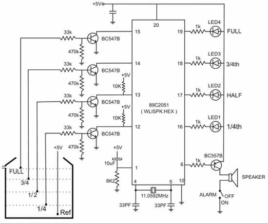 circuit diagram of water level indicator with voice alarm | free,
