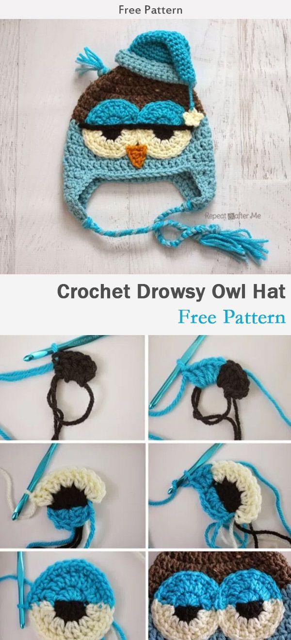 Crochet Drowsy Owl Hat Free Pattern | Crochet | Pinterest | Croché ...