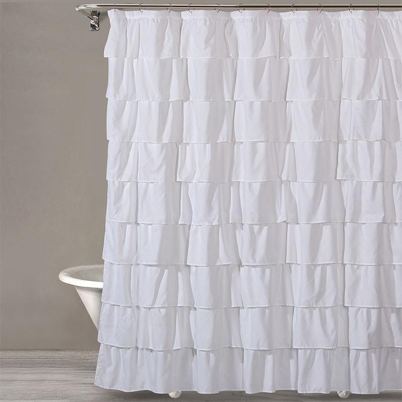 Style Quarters Bianca Ruffle Microfiber Shower Curtain White Ruffles White Shower Curtain Ruffle Shower