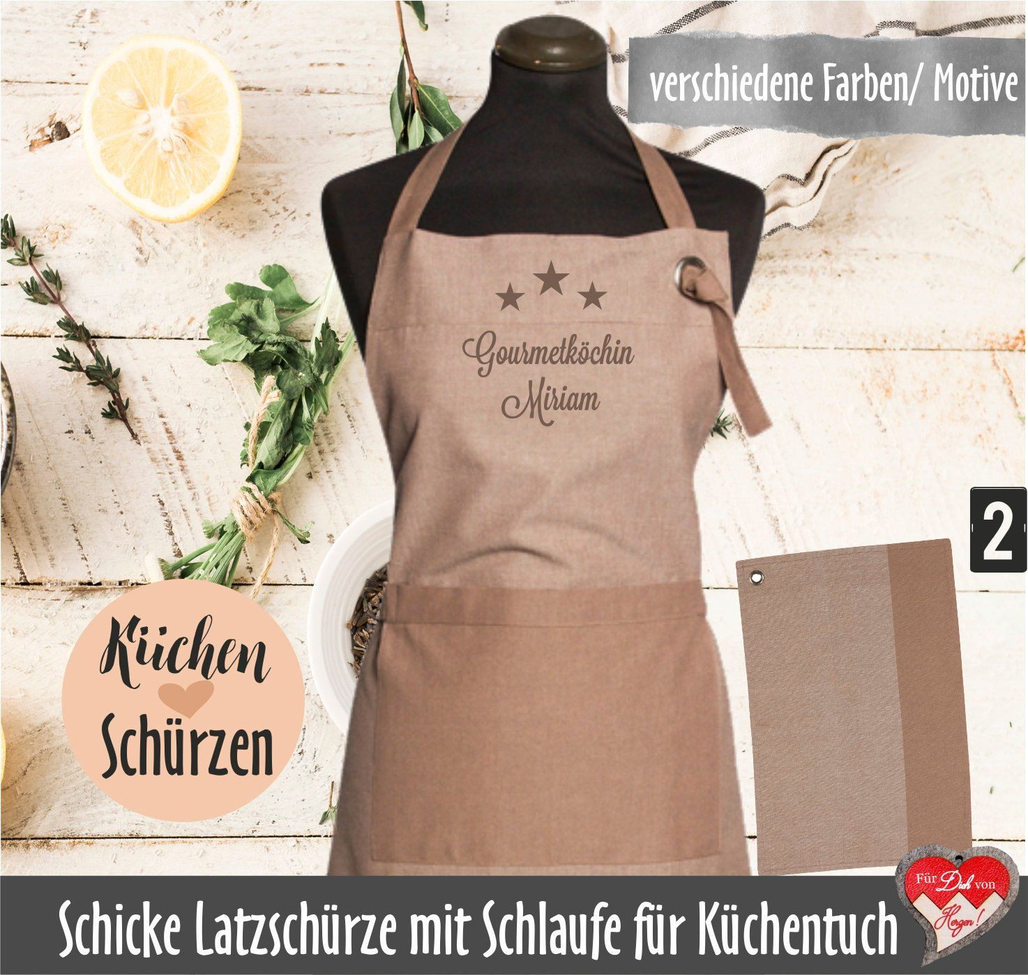 Schürze Küchenhilfe We Can Form Bib Apron Embroidered Kitchen Apron Individually