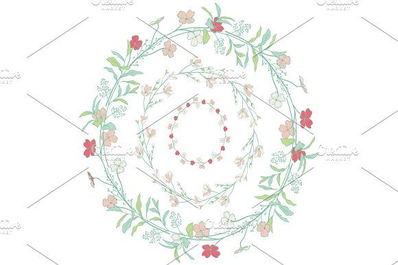 Photo of Doodle Wreaths with Branches, Herbs, Plants and Flowers by Olya.Creative on Crea…