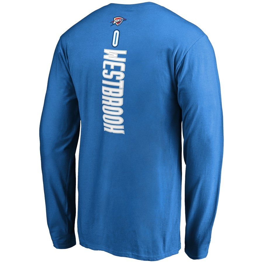 1a0e8156b27 Men's Oklahoma City Thunder Russell Westbrook Fanatics Branded Blue Backer  Name & Number Long Sleeve T-Shirt #Sponsored , #affiliate, #Russell# Westbrook# ...